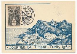 TUNISIE - Carte Locale - Journée Du Timbre 1951 TUNIS (wagon-poste) - Lettres & Documents