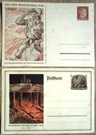 2 Ganzsachen Ungebraucht Deutschland über Alles, Ostland Afrikakorps Tag Der Briefmarke 1942 - Deutschland