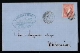 Espagne Superbe Lettre Avec Texte Qualité Luxe De 1857 Servicio De Los Vapores Españoles Del Norte De España Carril - 1850-68 Royaume: Isabelle II