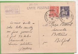 """CP Entier Type Paix 363-CP1 55c N°830 + Mercure 15c De Beaumes-les-Dames """"Epicerie CHRETIEN""""  à BOTANS 10/02/1939 - Entiers Postaux"""