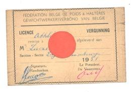 Licence - Fédération Belge De Poids Et Haltères - Sport , Section Liège - 1951 - Verso Vierge (b274) - Vecchi Documenti