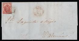 Espagne Superbe Lettre Avec Texte Qualité Luxe De 1854 YT 29 Cachet Rouge De Alcoy Devant Et Valencia Au Dos - 1850-68 Royaume: Isabelle II