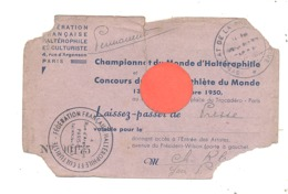 Championnat Du Monde D'Haltérophilie Et Du Plus Bel Athlète - Laisser-passer - Paris 1950 - Sport, Culturisme (b274) - Biglietti D'ingresso
