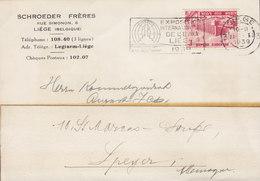 Belgium SCHROEDER FRÉRES Slogan Flamme 'Exposition Internationale De L'Eau' LIÉGE 1939 SPEYER A. Rhein Germany - Storia Postale
