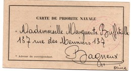Carte De Priorité Navale - Octobre 1939 - Contre-torpilleur Maillé-Brézé - 12,3 X 6,6 Cm - 2 Scans - Marcophilie (Lettres)