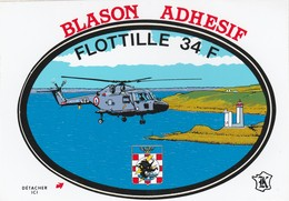 CPSM  HELICOPTERE FLOTILLE 34 F BLASON ADHESIF - Elicotteri