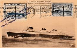Carte Maximum -  1ère Liaison Postale - Le Havre - New-York Par Le Paquebot Normandie 1935 - France