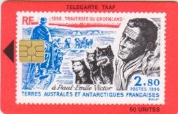 Télécarte 50U, Tirage 750, Paul Emile Victor En Arctique (Chiens, Traineau, ...) - TAAF - Terres Australes Antarctiques Françaises