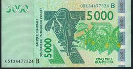 W.A.S. BENIN P217Bc 5000 FRANCS (20)05 Signature 33 UNC. - États D'Afrique De L'Ouest
