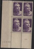 FR 1289 - FRANCE N° 731 Neufs** Bloc De 4 Bord De Feuille Numéroté Marianne De Gandon - 1945-54 Marianne De Gandon