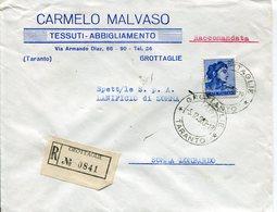 Italia (1963) -  Raccomandata Da Grottaglie (TA) - 1961-70: Marcophilie