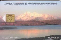 Télécarte 50U, Tirage 1500, Le Mont Ross (Montagne Enneigée, Paysage, ...) - TAAF - Terres Australes Antarctiques Françaises