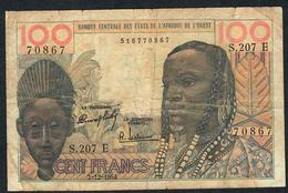 W.A.S. RARE MAURITANIA  P501Eb 100 FRANCS 2.12.1964 #S.207  VG TAPE ,NO PIECE MISSING ! - West African States