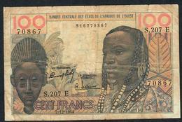 W.A.S. RARE MAURITANIA  P501Eb 100 FRANCS 2.12.1964 #S.207  VG TAPE ,NO PIECE MISSING ! - Westafrikanischer Staaten