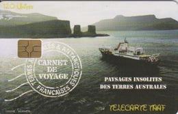 Télécarte 120U, Tirage 1500, Carnet De Voyage Du Marion-Dufresne (Marion, Arche De Kerguelen, Paysage, ...) - TAAF - Terres Australes Antarctiques Françaises