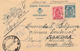 """Entier 50 Ct + 25 Ct Kain Naar Sandoa (Congo), Leopoldville 12.01.45 En Verder Naar Kolwezi - Censuur """"152"""". - Guerre 40-45"""