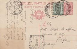 Minturno. 1919. Annulo Guller MINTURNO (CASERTA) + Tondo Riquadrato TUFO (CASERTA), Su Cartolina Postale - 1900-44 Victor Emmanuel III