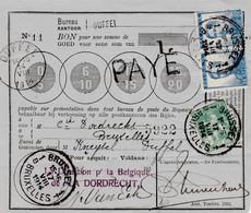 Postbon DUFFEL 14.VIII.14 Met Pellens 25 Ct X 2 + 5 Ct Naar Brussel 17.VIII. - WW I