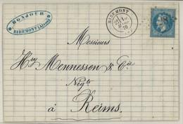 France Yv. 29B Sur Lettre (LAC) GC Ribemont, Dep. 2 (Aisne) Pothion Ind. 4 Cote EUR 17 (lot B213T) - 1849-1876: Klassieke Periode