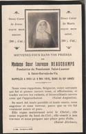 Avis De Décès Avec Photo - Soeur Laurence BEAUCHAMPS, Fondatrice Du Pensionnat St. Laurent - St. Gervais De Vic - 1918. - Décès