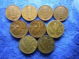 ITALY 5 CENTESIMI 1921, 1922, 1930, 1935 KM59, 10 CENTESIMI 1920, 1924 KM60, 1940, 1941, 1943 KM74a (9) - 1900-1946 : Victor Emmanuel III & Umberto II
