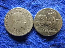 ITALY 1 LIRA 1863M KM5a.1, 1913 KM45 - 1900-1946 : Victor Emmanuel III & Umberto II