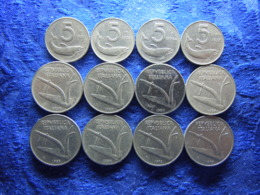 ITALY 5 LIRE 1951, 1953-1955 KM92, 10 LIRE 1951-1953 Cleaned, 1954-1956, 1973, 1979 KM93 (12) - Andere