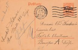 """Entier 8 Ct Luttich 1917 Naar Zivilgefangene In Fort De La Chartreuse/Luik + Censuur """"geprüft"""" En Parafering. RR - Guerre 14-18"""