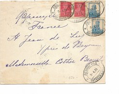 SH 0390. N° Yv. 234(2)-236(2) C. Ovale 9.4.24 S/Lettre Vers St Jean De Luz. - Storia Postale