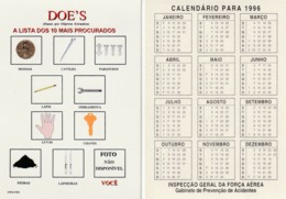 1996 Pocket Bolso Calendar Calandrier Calendario Portugal FAP Air Force Safety Segurança Prevenção FOD DOEs - Calendriers