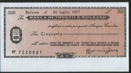 Italia 3 Miniassegni 1977 Banca Trento E Bolzano Da 50L E 100L Superski Dolomiti- Unione Commer Postal Market Bellissimi - [10] Assegni E Miniassegni