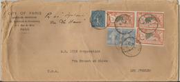 """N°145 (x3)+205+237 (x2) Obl. (o) Sur Lettre -PARIS/LOS ANGELES Par BATEAU : Ss/ """"AQUITANIA"""" Via LE HAVRE - Storia Postale"""