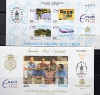 EXPO ESPAMER 1996 Spanien Block 64SD+Bl.65SD ** 30€ Luftfahrt König-Familie Hoja Blocs S/s Philatelic Sheets Espana - Probe- Und Nachdrucke