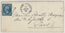 France Yv. 22 Sur Lettre (LAC) GC 980 Chaumont Porcien, Dep. 7 (Ardennes), Cad Type 16, Pothion Ind. 5 EUR 22(lot B248T) - 1849-1876: Klassieke Periode