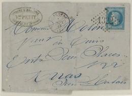 France Yv. 29A Sur Lettre (LAC) GC 1322 Donchery, Dep. 7 (Ardennes), Pothion Ind. 5 EUR 22 (lot B250T) - 1849-1876: Klassieke Periode