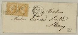 France Yv. 13Aa Paire (1 Ex. Pd) Sur Lettre PC571 Buzancy, Dep.7(Ardennes),Yv. Cote EUR200 Pothion Ind. 5 EUR 22 (B256) - Postmark Collection (Covers)
