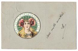 Femme Tête Byzantine Style Mucha CPA Dos Non Divisé A Voyagé 1902 Art Nouveau Gaufrée Colorisée Cachets Marqués Au Verso - 1900-1949