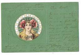 Femme Tête Byzantine Style Mucha  CPA Dos Non Divisé A Voyagé 1902  Art Nouveau Gaufrée Colorisée - 1900-1949