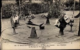 Cp La Baule Les Pins Loire Atlantique, Parc Des Dryades, Jeux D'enfants, Manege De Poissons De Bois - France