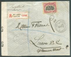 N°144 - 50 Centimes Obl. Sc Agence ANTWERPEN 5 * Sur Lettre Recommandée Du 19-I-1919 Vers Londres + Double Bande OPENED - Sternenstempel