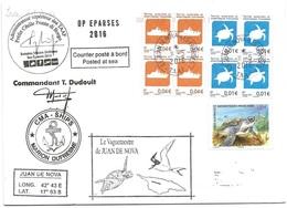 229 - 20 - Enveloppe Navire Marion Dufresne - Escale Ile Juan De Noval Iles Eparses 2016 - Divers Cachets Illustrés - Polar Ships & Icebreakers