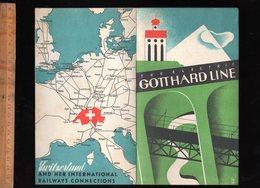 Dépliant Touristique :  The Electric GOTTHARD LINE St Gotthard Railway Map C.1935 Chemin De Fer Suisse - Reiseprospekte