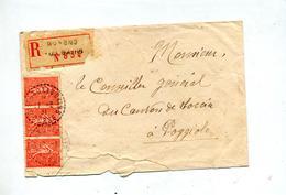 Lettre Recommandée Guagno Les Bains Corse Sur Semeuse - Marcophilie (Lettres)
