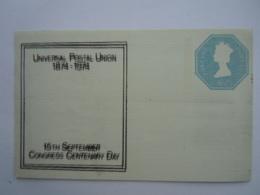 Great Britain Grande Bretagne Stationary Entier Postal Post Card 100 Year UPU 1974 Wrong Print 4 1/2 P Crease In Corner - Luftpost & Aerogramme