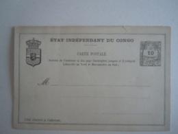 Etat Indépendant Du Congo Carte Postale Stationary Entier Postal 10 Centimes A été Collée - Postwaardestukken