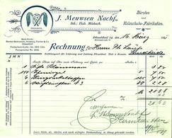 """Düsseldorf 1911 Rechnung Deko """" J.Meuwsen - Bürsten- Und Holzschuhe-Fabrikation """" - Droguerie & Parfumerie"""