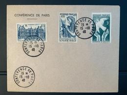 CONFERENCE DE PARIS Lettre 15/10/1946 3 Timbres - Commemorative Postmarks