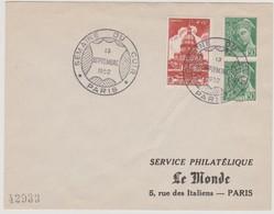 FRANCE 1952 Enveloppe Cachet Semaine Du Cuir 13.09 1952 PARIS Avec N°YT 751 Et 414B - Poststempel (Briefe)