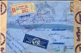 1943 - LETTRE RECOMMANDÉ PAR AVION A DESTINATION DE ANKARA TURQUIE AVEC CENSURE MILITAIRE ALLEMANDE - Storia Postale