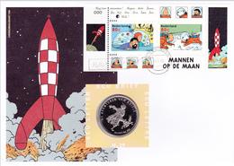 NVPH FDC Numisletter 39 1839  Bloc 60  BD Bande Dessinées Comic Tintin Lune Ecu Lettre Letter Brief Pays-Bas 8-10-1999 K - FDC